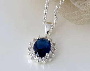 Sterling Silver Sapphire Crystal Pendant, Sapphire Blue Necklace, September Birthstone Necklace, Bridesmaid Blue Pendant Necklace