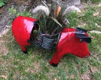 Recycled Metal Red Pig Planter / Pot Holder