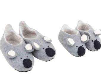 Sweet felt Koala slippers booties for kids