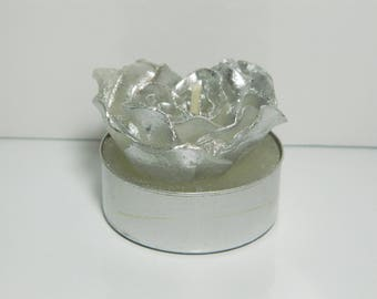 Silver plated rose candle