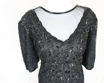 Genuine Beaded Laurence Kazar 80s Dress