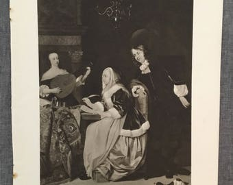 Metsu. The music lovers. 1920's antique print
