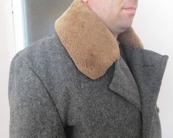 Military wool coat,Vintage army coat,Soldier coat ,Sheepskin lining,Winter coat,Russian military coat,Warm coat for hunters,Winter garment