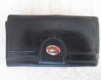 Vintage purse, Black leather purse, Womens leather wallet, Clutch purse, Wallet, Purse, Ladies accessories, Gift idea, Black leather wallet