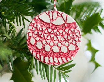 Red Christmas ornaments set of 4
