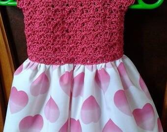 Girl dress bodice and skirt crochet hearts