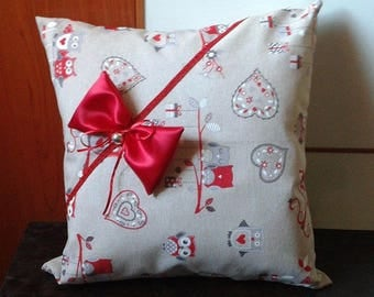 Valentine pillow owls and Red bow