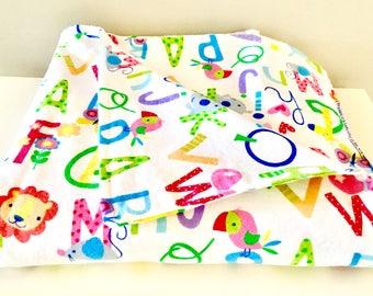 Flannel Alphabet Multicoloured Baby Blanket