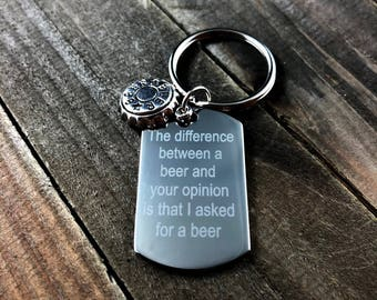 Funny Beer keychain • beer lover keychain • personalized beer keychain • Custom engraved keychain • custom text keychain • beer cap keychain