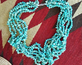 Vintage Multi 6 Strand  Southwestern Navajo Turquoise Nugget Bead Sterling Silver Necklace Native American Indian Boho Gypsy Tribal Style
