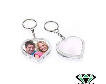 x 1 heart photo frame keychain