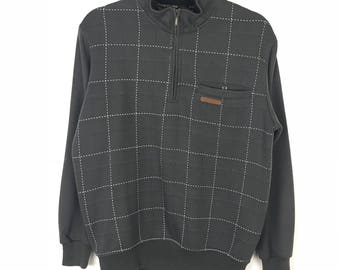 Rare!!! Claudio Valentino Sweatshirt Pullover Stripes Multicolors Half Zipper A Pocket