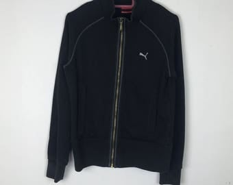 Rare!!! Puma Sweater Small Logo Embroidery Full Zipper Double Pockets