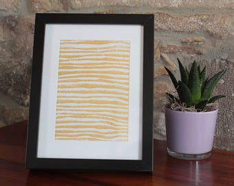 A5 linocut decoration - pattern stripes - gold