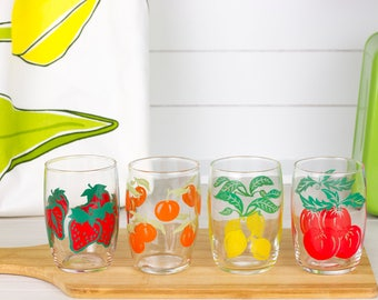 Set of four (4) glasses with fruit decor