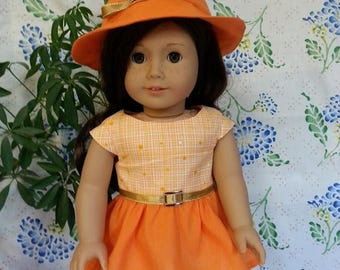 """2 Tone Orange Dress and Hat for 18"""" and American Girl Dolls"""