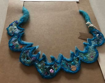 Handmade Necklace Blue Embroidered Collaged Sequinned Embellished Jewellery Recycled fabric