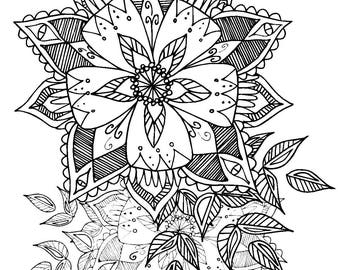 Detailed Flowers Printable Colouring Page