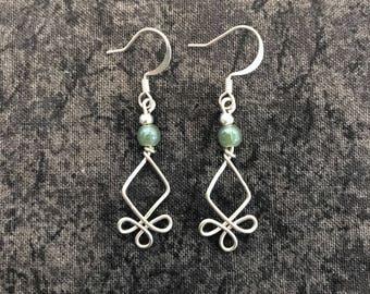 Diamond Clover Wire Earrings, Green Beads, Hook Earrings