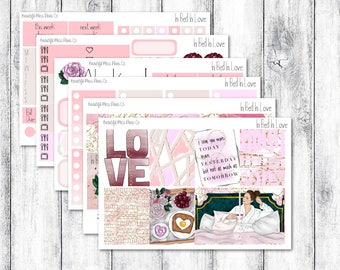 In Bed In Love // Erin Condren Vertical // Weekly Sticker Kit // Valentine's Day Sticker Kit // Valentine Stickers