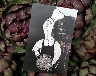 She. Cooking, foodlovers postcard, spaghetti lover, postcard cooking, postcard chef, female chef, birthday foodlover, black and white