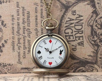 Pocket Watch Necklace Antique Bronze