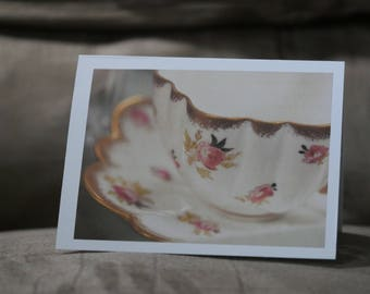English Floral Teacup Photo Greeting Card, blank