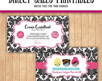 Perfectly Posh Inspired Business Card Damask