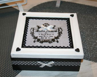 black and white shabby tea or jewelry box hearts