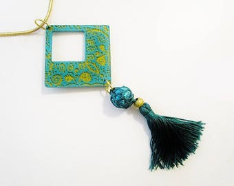 Necklace pendant, emerald green, gold, boho, handpainted, tassel.