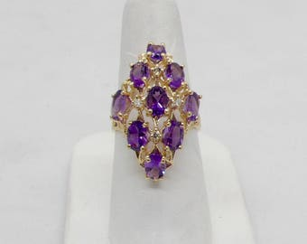 Vintage Amethyst & Diamond Cluster Dinner 14kt Yellow Gold Lady's Ring