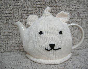 Tea Cosy, Polar bear design, Hand knitted in cream aran wool