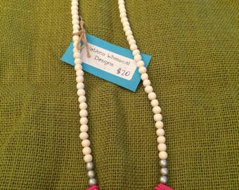 Pink Moroccan Stick Necklace. 14''