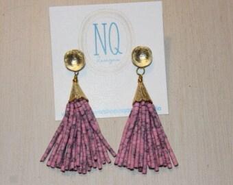 Pink beaded tassel earrings