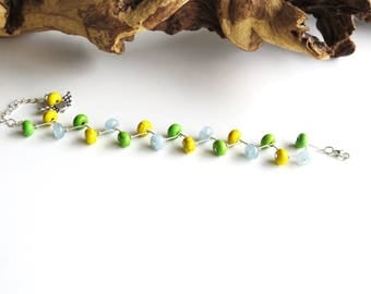 Bracelet small gemstones in three colors