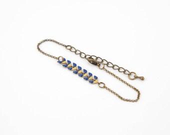 Navy Blue herringbone bracelet and brass #1303