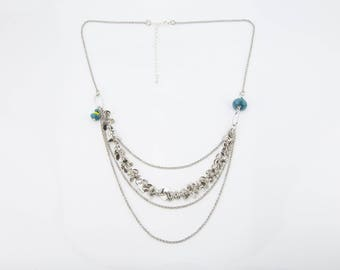 Short necklace, silver and teal #1342
