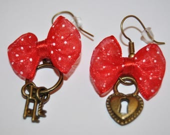 bronze key/lock and Red Bow earrings