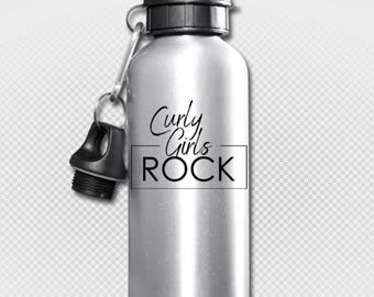 Curly Girls Rock - Aluminum Water Bottle