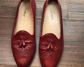 Vintage 1980s woven leather flats, loafers