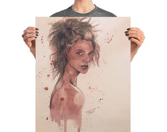 White Freckles Poster - Wine on Watercolor Paper