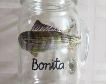 Hand Painted Fish on a Mason Jar Mug