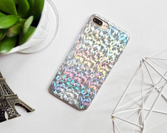 Sparkle and shine silver soft iPhone 7 Plus Case // 7 7 plus 6 6s iPhone cases // geometric holographic sparkle cases faux leather base