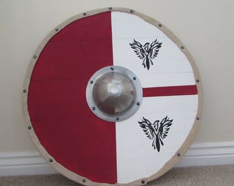 Red, white and black eagle design viking shield / targe