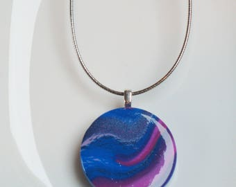 Fimo pendant, marbled lines of blue and pink