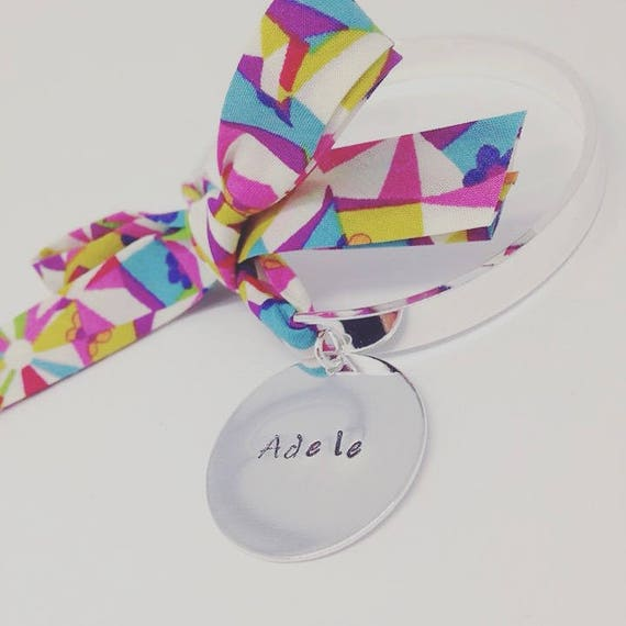 Cuff Bracelet Bangle by Palilo with its Liberty bow and Medal with personalized engraving