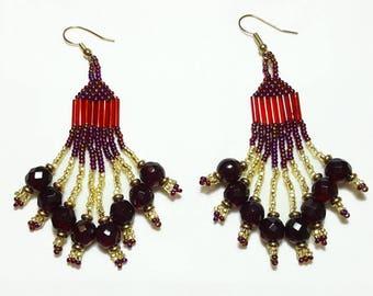 Garnet and Gold Beaded Dangle Earrings