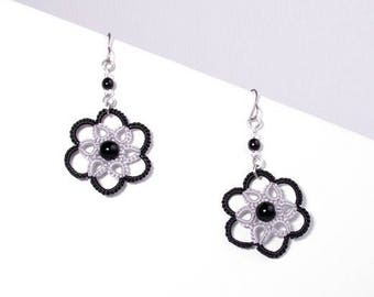 Small black and grey rose lace earrings