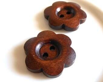 5 x dark brown 24x24mm natural wooden flower shape buttons