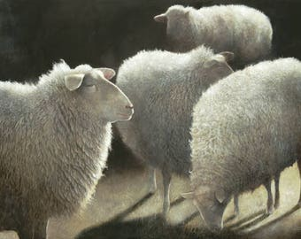 "Four Sheep: Canvas Reproduction 44"" x 27"""